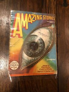 Amazing Stories Magazine April 1928 H G Wells Ed. Frank Paul Cover VINTAGE! WOW!