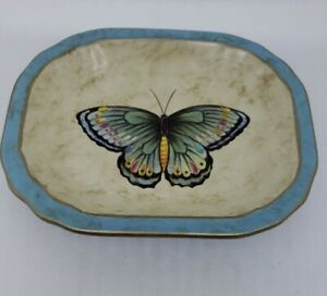 """Echo Point Collection Rustic Y2K Green Blue Butterfly Trinket Soap Dish 7x5"""" EUC"""