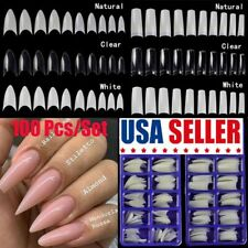 100 set Nail Art French Style False Fake Nail Coffin Tips Uv Acrylic Manicure