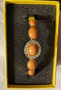 Vintage Liz Claiborne Signed Orange Cabochon & Pave Rhinestone Stretch Bangle...