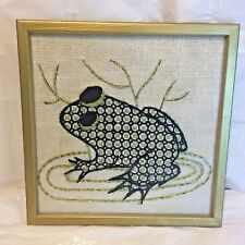 Vtg MCM Embroidery Embroidered Black & Gold Thread FROG Framed Picture Wall Art