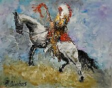 ANDRE DLUHOS ORIGINAL OIL PAINTING Native American Indian Chief War Staff Horse