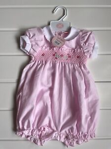 Baby Age 0-3 months Romper Rock A Bye Baby Boutique Design Pink Peter Pan Collar