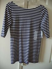 Old Navy Updated Navy Blue Stripe Ballet Style 1/2 Sleeve Tshirt Knit Top 4 6 S