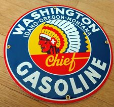 Washington Chief Indian Gas Oil Gasoline Porcelain Advertising sign.~12 inch