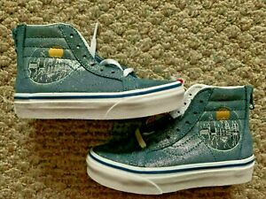 VANS HARRY POTTER SK8 HIGH TOP LACE HOGWARTS BLUE GLITTER KIDS SIZE 11 SNEAKERS