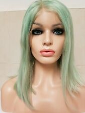 Green Human Hair Wig 100% Bob Lace Transparent Clear Lace Short