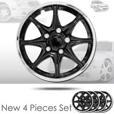 "NEW 15"" ABS Plastic 8 Spikes Black Hubcaps Wheel Cover Hub Cap For VW 522"