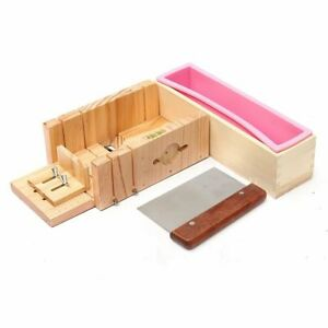 Holzlaib Seife DIY Seife Silikonform Set, verstellbarer Holz Seifenschneider DHL