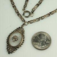 "Art Deco CAMPHOR GLASS Necklace 1930s STERLING & MARCASITES 16.25"" Choker FAB!"
