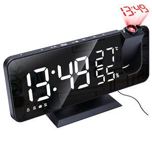"Digital Snooze Dual Alarm Clock with Projection FM Radio 7.5"" Mirror LED Display"