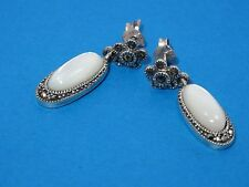 VINTAGE MARCASITE & MOTHER OF PEARL STERLING DROP EARRINGS ~ 1.25""