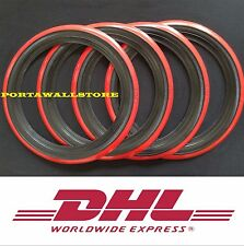 "4X14""Black&Red Wall Tyre Trims Portawall Whitewall Set Mercedes Bmw."