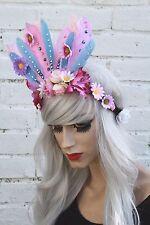 SECRET GARDEN LILAC FEATHER FLAPPER HEAD DRESS HEAD BAND FESTIVAL FLOWER CROWN