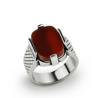 Natural Red Agate Handmade Mens Ring in Solid Sterling Silver Natural Gemstone