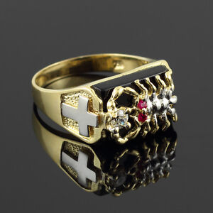Men's Solid Gold Black Onyx Stunning Scorpion Band Scorpio Zodiac Statement Ring