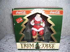 COCA COLA ORNAMENT TRIM-A-TREE 1947 SANTA ON STOOL MIB