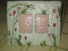 Burnes Green Floral Frame 2 Wallet Table Top Dual Photo Frame Picture Frame
