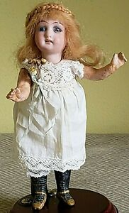 "Antique 6"" Heber & Co. Bisque Head Doll Lovely Vintage Clothing."