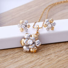 """9K 9ct Yellow & White """"Gold Filled"""" Girls White Stones Necklace & Earrings Set."""