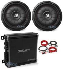 "2 Kicker 43CVT124 COMPVT 1600W 12"" Shallow Car Subwoofers Subs+Amplifier+Amp Kit"