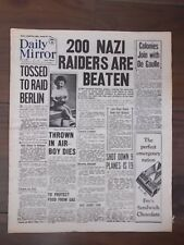 DAILY MIRROR WWII NEWSPAPER AUGUST 30th 1940 BATTLE OF BRITAIN 200 RAIDERS DOWN