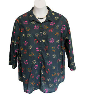 LANDS END Pullover Tunic Shirt Plus Size 2X 20W 22W Floral Navy Blouse Top