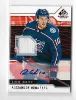 2018-19 Sp Game Used Hockey Jersey Relic Autograph Alexander Wennberg Columbus