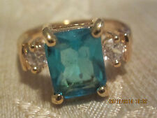 Yellow Gold Filled  Ring with Blue Swar Crystal - Size 7
