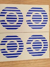 A Set Of Four Striped Stickers In Blue And White
