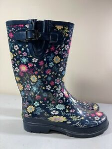 WESTERN CHIEF WOMEN'S FLORAL PULL ON MID CALF RAIN BOOTS SIZE 9