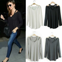 Women's Solid Long Sleeve Loose Blouse V Neck Casual Baggy Shirt Tops T Shirts