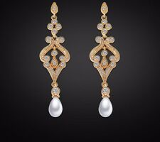 Chandelier Rose Gold Pearl Bridal Earrings Dangle  Long Drop Crystal Earrings