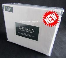 4-pc ☆ RALPH LAUREN ☆ King Sheet Set Delica Ladder Pattern Taupe 100% Cotton