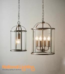 Decorative 1 4 Light Lantern LED Pendant Adjustable Satin Nickel