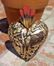 LARGE MILAGRO FLAMING HEART HAND MADE MEXICO CHRISTIAN RELIGIOUS FREE SHIPPING