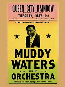 """Muddy Waters Clarksville 16"""" x 12"""" Photo Repro Concert Poster"""