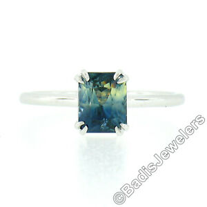 NEW Platinum GIA 1.53ct NO HEAT Blue & Yellow Sapphire Solitaire Engagement Ring