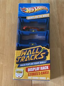 Hot Wheels Wall Track Display Rack Includes 1 Red Car Stores 5 Cars 2010 Mattel