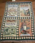 Vintage History of Baseball Afghan Tapestry Throw 4 Panels Crown Craft 48 X 68