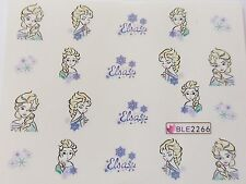Nail Art Elsa Flower Frozen Blue LovE Girlie Nail Art Water Decal Sticker 2266