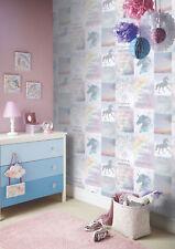 Believe In Unicorns Horses Childrens Girls Pink Silver Glitter Wallpaper 698300