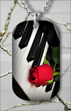 FLOWER RED ROSE ON PIANO KEYBOARD DOG TAG PENDANT NECKLACE FREE CHAIN -fdc5Z