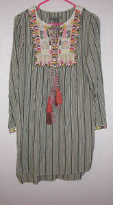 Chelsea & Theodore SIZE M Dress EMBROIDERED Boho LIGHTWEIGHT Peasant TASSELS