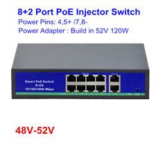 48V/52V 8 Port POE Injector Switch with 2 gigabit uplink port IEEE802.3af at