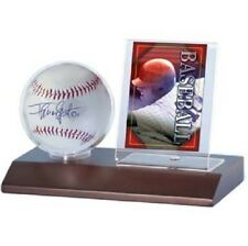 Ultra Pro Wood Base Ball & Card Holder (Dark Wood) Desktop Baseball Display Case