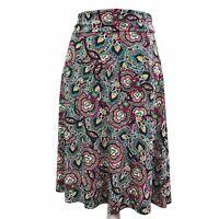 Lularoe Multi Color Paisley Print Stretch Knee Length Pull On Skirt Womens M