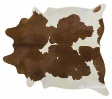 Brown & White Cowhide Cow Hide Area Rugs Leather Size LARGE