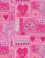 Breast Cancer Awareness Pink Ribbon Hearts Cotton Quilting Fabric 1/2 YARD