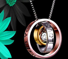 Women Gifts for her engraved Mum trio ring necklace christmas rosegold silver